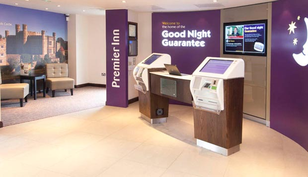 Reception at Premier Inn Maidstone Town Centre hotel