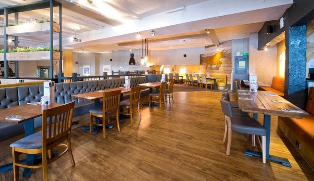 Restaurant area at Premier Inn Maidstone (Sandling) hotel