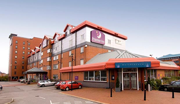 Exterior at Premier Inn Manchester Old Trafford hotel showing car park