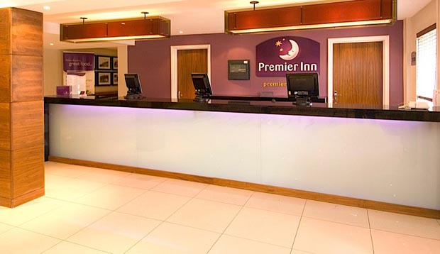 Reception at Premier Inn Manchester Old Trafford hotel