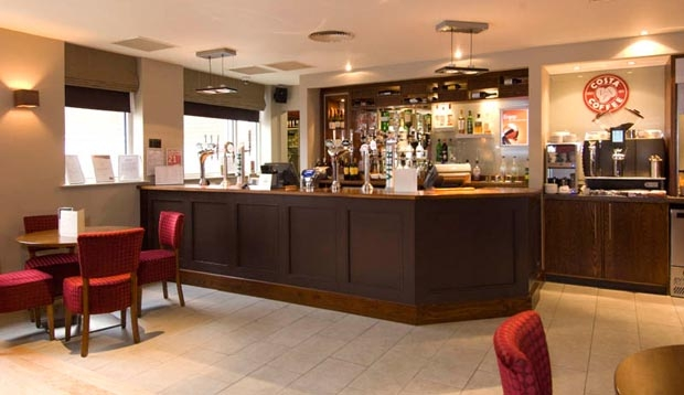 Bar area at Premier Inn Manchester City Centre (Deansgate Locks) hotel