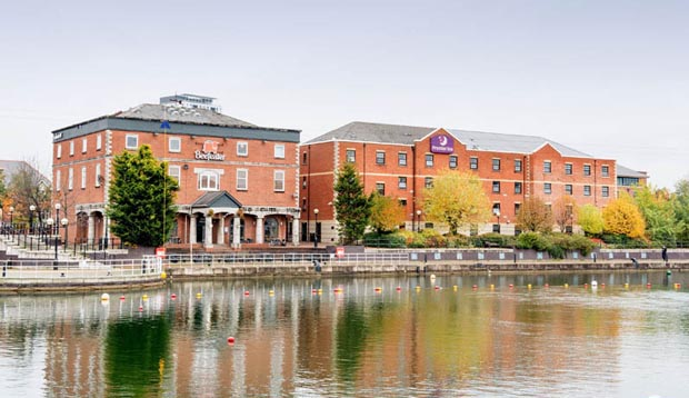 Surrounding area at Premier Inn Manchester Salford Quays hotel showing quay view