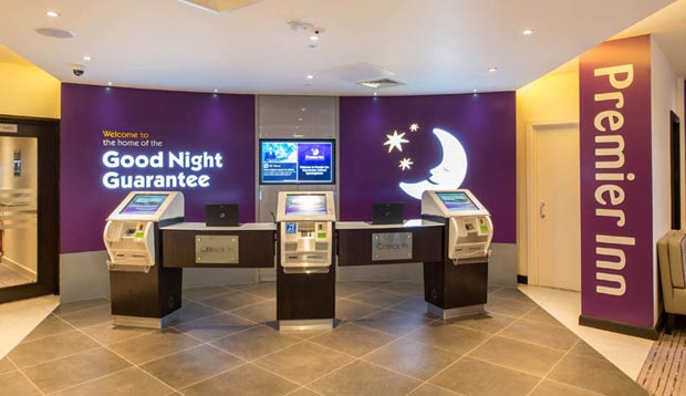 Inside reception at Premier Inn Manchester Salford Central hotel