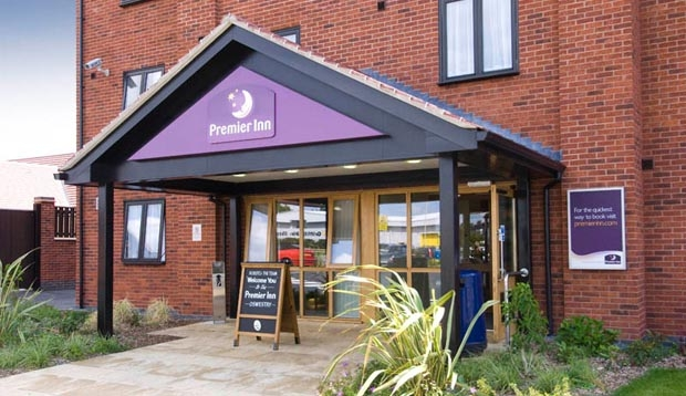 Exterior of Premier Inn Oswestry showing reception
