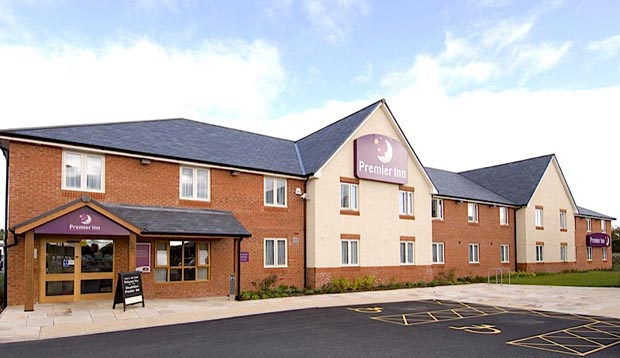 Exterior of Premier Inn Rhuddlan showing reception