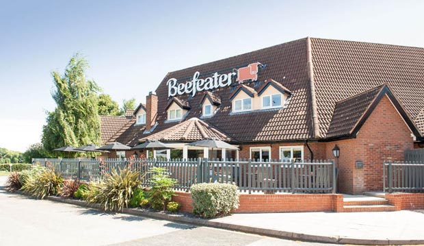 Exterior of Beefeater restaurant at Premier Inn Tamworth Central