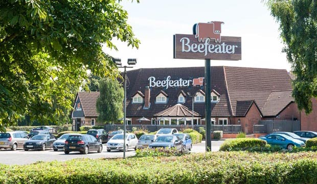 Exterior of Premier Inn Tamworth Central showing Beefeater restaurant and car park