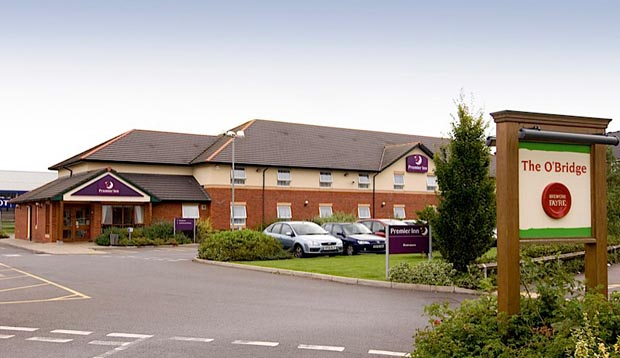 Exterior of Premier Inn Taunton Central (North) showing car park