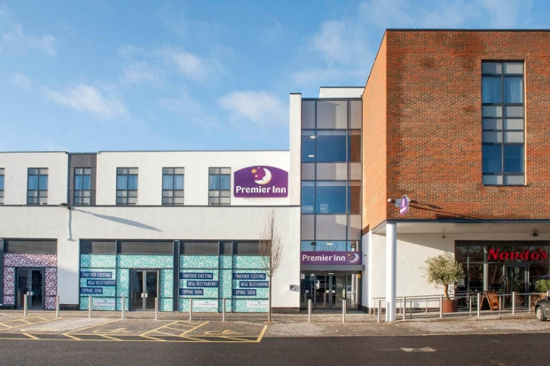 Exterior of Premier Inn Trowbridge showing surrounding area