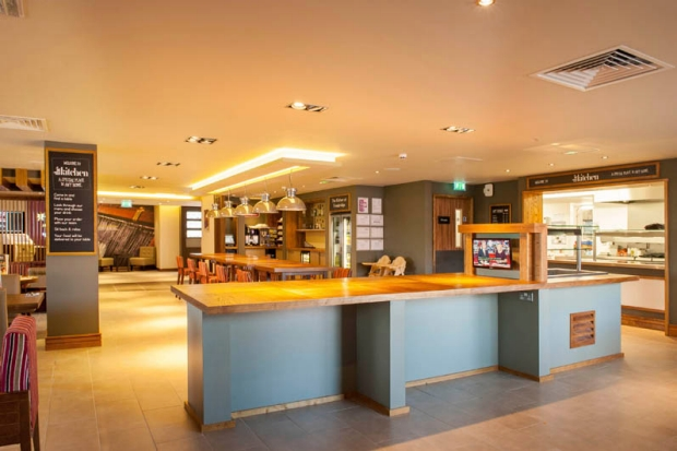 Restaurant area at Premier Inn Trowbridge