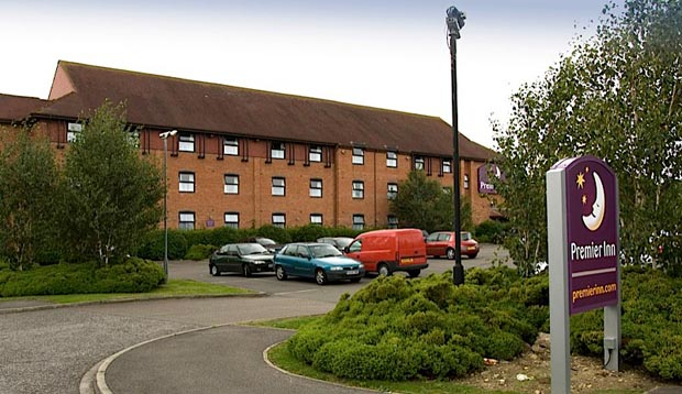 Exterior of Premier Inn York South West showing car park
