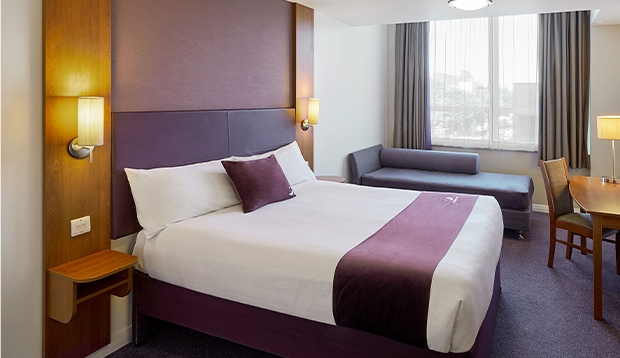 Premier Inn double bedroom with sofa